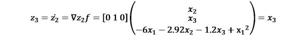 KutoolsEquPic:?_3=(?_2 )̇=∇?_2 ?=[0 1 0](?_2¦█(?_3@−6?_1−2.92?_2−1.2?_3+〖x_1〗^2 ))=?_3