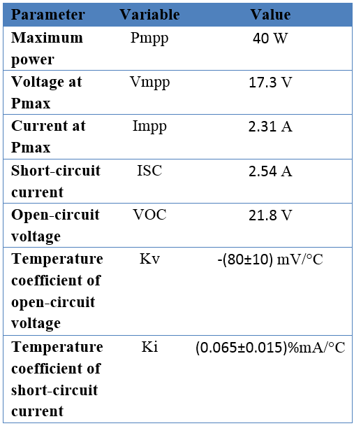 ویژگیهای الکتریکی سلول خورشیدی مدل BP340