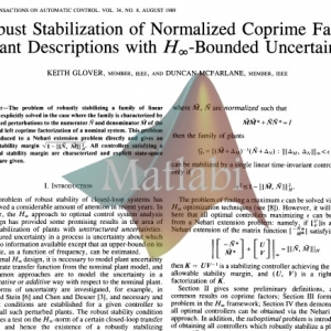 Robust Stabilization of Normalized Coprime Factor Plant Descriptions with H inf Bounded Uncertainty