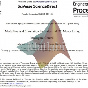 Modelling and Simulation for Industrial DC Motor Using Intelligent Control
