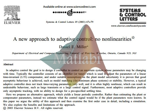 A new approach to adaptive control no nonlinearities