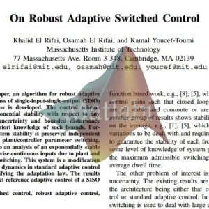 On Robust Adaptive Switched Control