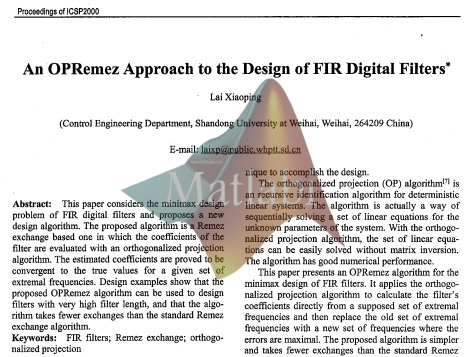 An OPRemez Approach to the Design of FIR Digital Filters