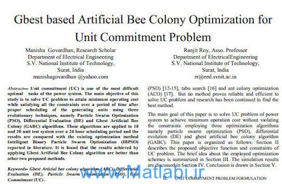 Gbest based Artificial Bee Colony Optimization for Unit Commitment Problem