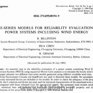 TIME-SERIES MODELS FOR RELIABILITY EVALUATION OF POWER SYSTEMS INCLUDING WIND ENERGY