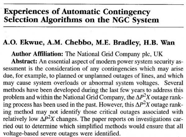 Experiences of Automatic Contingency Selection Algorithms on the NGC Systems