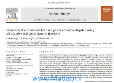 Enhancement of combined heat and power economic dispatch using self-adaptive real-coded genetic algorithm