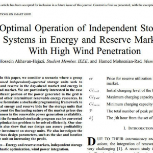 Optimal Operation of Independent Storage Systems in Energy and Reserve Markets With High Wind Penetration
