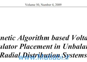 Genetic Algorithm based Voltage. Regulator Placement in Unbalanced. Radial Distribution Systems