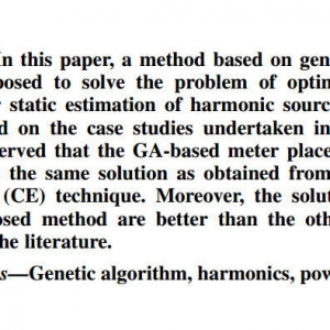 Genetic Algorithm-Based Meter Placement for Static Estimation of Harmonic Sources