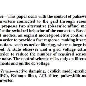 Explicit Model-Predictive Control of a PWM Inverter With an LCL Filter