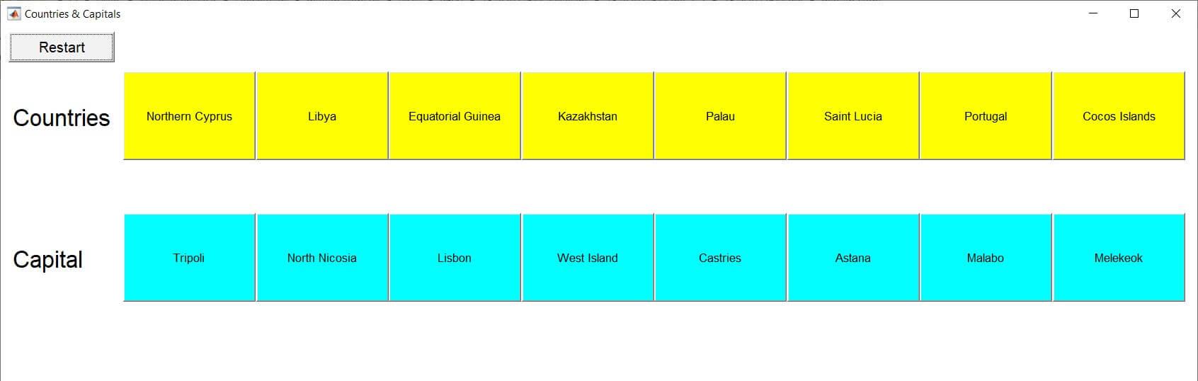 انتخاب پایتخت کشور ها در محیط GUI متلب