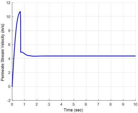 Permeate stream velocity